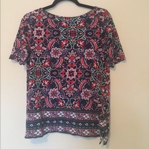 LOFT Colorful Boho Paisley Loose Tunic Tee